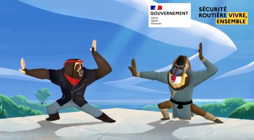 Illustration deux singes karateka prenant des poses de Yoga